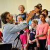 KRISTOPHER RADDER - BRATTLEBORO REFORMER<br /> Oak Grove music teacher Andy Davis conducts the Oak Grove Intergenerational Chorus during a concert for the Brown Bag Lunch Series at the River Garden on Wednesday, May 23, 2018.
