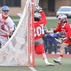 Bradley Voigt fires a shot that finds the upper corner of the goal, Friday, April 18.