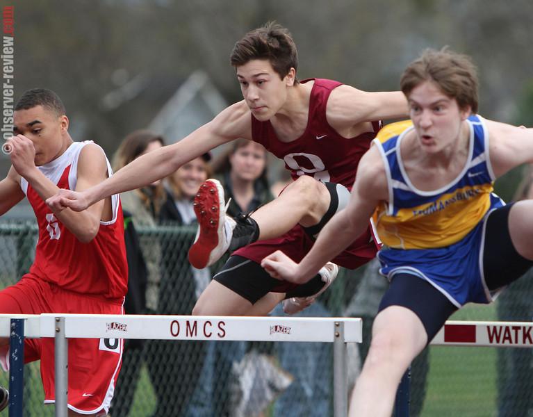 Odessa's Andy Fudala competes in the 110 meter hurdles last week.