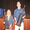 Penn Yan award winners of the Girls Coaches' Trophy, Courtney Lafler and Boys Coaches' Trophy, Ben Covert.