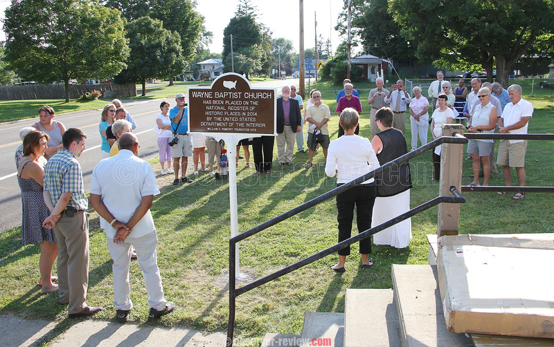 Wayne Baptist Church sign dedication commemorating placement of the church to the National Register of Historic Places, Aug. 16, 2015.