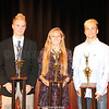 Penn Yan Girls Coaches' Trophy winner Brie Yonge (above center) and Boys Coaches' Trophy award winners Sean Emerson (above left) and Austin Fingar (above right).