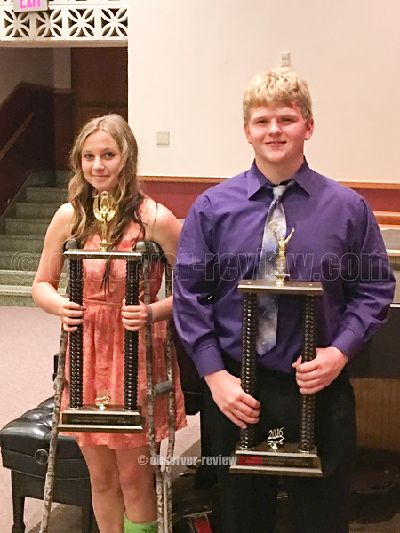 PHOTO PROVIDED/The Harold Lynch Athlete of the Year Awards were presented to April Dunn and Bryce Elliott in Odessa.