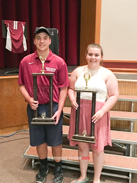 PHOTO PROVIDED/Odessa's Charles Martin Memorial Sportsmanship Awards were given to Tyler Clark and Madison Lodge
