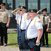 There were a number of Memorial Day ceremonies, Monday, May 28 to remember fallen soldiers. Above, Tony Specchio and Keith Caslin salute during the Naval Memorial service in Watkins Glen.