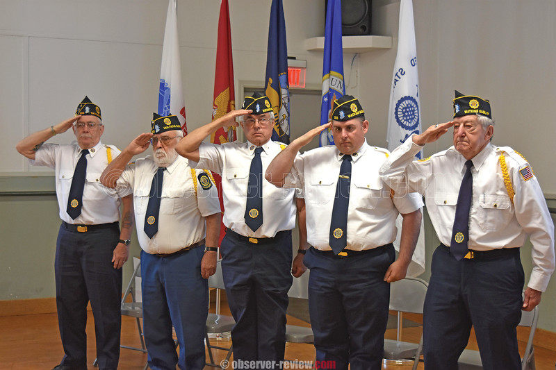 Watkins Glen held a Memorial Day service, Monday, May 27 at the Community Center. Members of the American Legion Seneca Post 555 of Watkins Glen salute and include: Skip Ferris, Gordon Swarthout, David Lamoreaux, Patrick Madaffari, and Anthony Specchio.