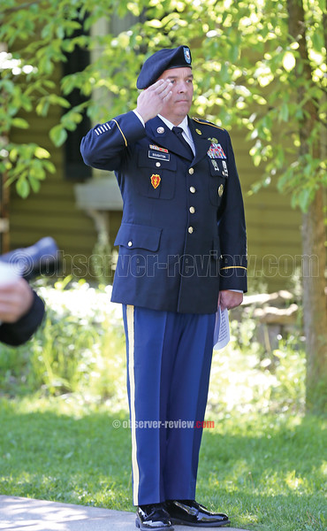 Command Sergeant Major Bruce Boughton II was the featured speaker Monday morning in Montour.