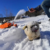 KRISTOPHER RADDER — BRATTLEBORO REFORMER<br /> Walter Hagedorn, owner of Sensation Productions and chief project coordinator for The Love Sheep Project, uses a remote control for a miniaturized snow blowing vehicle as his sheep ride on the back while clearing snow at the Retreat Meadows on Wednesday, Jan. 30, 2019.  The Love Sheep is a social art project created by Hagedorn.