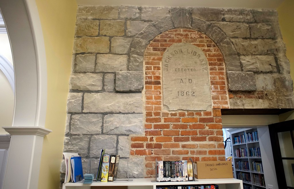 . Some of the original stonework from the Stockbridge Library is on display at the main desk, Tuesday, April 26, 2016. Ben Garver � The Berkshire Eagle |