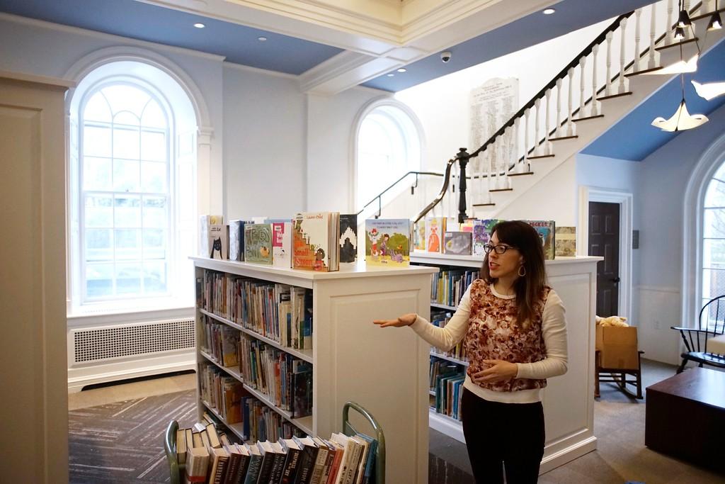 . Katherine O\'Neil shows off the Jackson Wing of the Stockbridge Library after renovation, Tuesday, April 26, 2016. Ben Garver � The Berkshire Eagle | photos.berkshireeagle.com