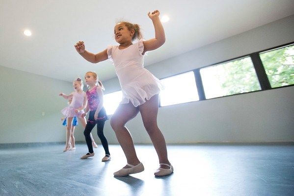 JAY YOUNG | THE GOSHEN NEWS<br /> Khloe Beachy twists and shakes along with the rest of her classmates during a Kinderdance class Wednesday evening at Epic Dance Studios.