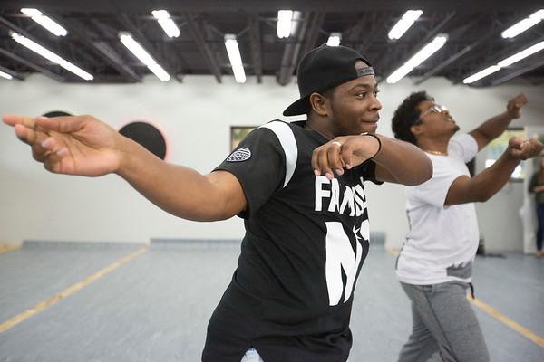 JAY YOUNG | THE GOSHEN NEWS<br /> Instructor Katrell Jemison, left, and Shimmy Sar run through some dance moves during a hip hop dance class Wednesday evening at Epic Dance Studios.