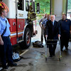 Frank J. Kennedy, the oldest living Troy firefighter, celebrated his 100th birthday (August 22) with a ride on an antique 1947 Mack fire truck to his last fire station on Canal Ave in Troy, N.Y., Sunday, August 25, 2013.. (Mike McMahon/The Record)