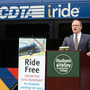 Hudson Valley Community College President Drew Matonak announce partnership with CDTA to offer free rides for HVCC students Monday, August 26, 2013 at  the college in Troy, N.Y.. (J.S.CARRAS/THE RECORD)