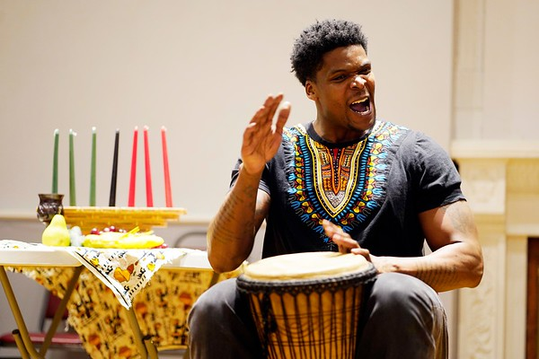 BEN GARVER — THE BERKSHIRE EAGLE<br /> Jerome Edgerton play a beat of unity, starting with a human heartbeat at The Women of Color Giving Circle of the Berkshires annual Kwanzaa Celebration at the Whitney Center for the Arts in Pittsfield, Friday December 28, 2018.