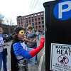 KRISTOPHER RADDER - BRATTLEBORO REFORMER<br /> Seeing a line of people at the pay station at Preston Lot, Cassandra Dunn dressed as the Brattleboro Parking Hero quickly jumps into action paying their parking on Friday, May 4, 2018. The parking was paid by the Downtown Brattleboro Alliance. There are plans for the hero to return to the streets of Brattleboro another four times in 2018.