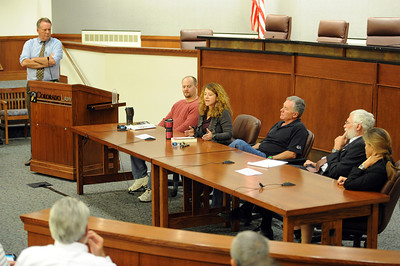 Tim Masters and his post-conviction attorney, Maria Lui, center, spoke at the University of Colorado Law School on October 13, 2011. The program was sponsored by the Colorado Innocence Project. Masters spent years in prison for a crime he did not commit.  For more photos and a video, go to www.dailycamera.com. Cliff Grassmick / October 13, 2011