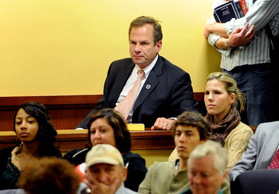 Boulder DA, Stan Garnett, sat in on the panel discussion and answered a few questions. Tim Masters and his post-conviction attorney, Maria Lui, spoke at the University of Colorado Law School on October 13, 2011. The program was sponsored by the Colorado Innocence Project. Masters spent years in prison for a crime he did not commit.  For more photos and a video, go to www.dailycamera.com. Cliff Grassmick / October 13, 2011