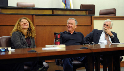 Attorney Maria Lui, left, attorney, David Wymore, and adjunct CU Law professor, Bill Nagel were part of the panel with Tim Masters. Tim Masters and his post-conviction attorney, Maria Lui, spoke at the University of Colorado Law School on October 13, 2011. The program was sponsored by the Colorado Innocence Project. Masters spent years in prison for a crime he did not commit.  For more photos and a video, go to www.dailycamera.com. Cliff Grassmick / October 13, 2011