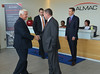 Governor Tom Corbett shakes hands with Mark Weir, U.S. CFO of ALMAC as he is welcomed to the facility in Lower Salford Township.  Standing at right is Jim Murphy, President & Managing Director of ALMAC Clinical Technologies   Tuesday, July 8, 2014.  Photo by Geoff Patton