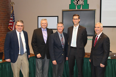 LAWRENCE PANTAGES / GAZETTE Celebrating the hiring of new Medina City Schools Superintendent Aaron Sable on Monday at a Medina Board of Education meeting were: president Rob Skidmore, Educational Services Center Superintendent Will Koran; retiring Superintendent Dave Knight; Sable, and Medina Mayor Dennis Hanwell.