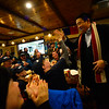 KRISTOPHER RADDER — BRATTLEBORO REFORMER<br /> Democratic presidential candidate businessman Andrew Yang gives a high-five to one of his supporters at Branch and Blade Brewing Company, in Keene, N.H., on Monday, Dec. 2, 2019.