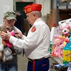 BEN GARVER — THE BERKSHIRE EAGLE<br /> Marines Bob Broderick and Bob Garrity gather teddy bears for distribution in the Toys for Tots program. The Berkshire County Sheriff's Office and  the Marine Corps League Pittsfield Detachment 137 gather toys for distribution at the Berkshire County House of Correction for Berkshire County children Tuesday, December 10, 2019.