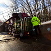 KRISTOPHER RADDER - BRATTLEBORO REFORMER<br /> Crews responded to a single motor vehicle rollover on Route 9, in Marlboro, Vt., around 7:15 a.m. on Friday, Jan. 19, 2018. Vermont State Trooper Max Trenosky said a tractor-trailer was traveling west on Route 9 around 40 mph when the driver reported that his trailer started fishtailing and he couldn't  correct it. The trailer slid off the eastbound side of the roadway and struck a utility pole. <br /> <br /> This crash was attributed to speed and an inexperienced commercial driver, who has been driving since only December. <br /> <br /> The driver received minor injuries but was not transported from the scene.