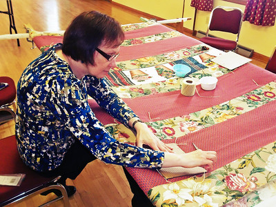 NIKKI RHOADES / GAZETTE Andy Riggenbach of Medina has an extensive background doing crafts. She says that her eye for design makes quilting even more enjoyable.