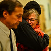 KRISTOPHER RADDER — BRATTLEBORO REFORMER<br /> Laura D'Angelo, wife of Stanley Lynde,  gives a hug to those that came to support her after Michael D. Cheeney appeared in Windham County Superior Court/Criminal Division on Tuesday, Nov. 6, 2018, to change his plea to guilty in the death of Stanley Lynde.