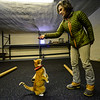 KRISTOPHER RADDER — BRATTLEBORO REFORMER<br /> Sara Matters, owner of Training Matters, in Brattleboro, uses a treat to have her cat, Puck, stand up on Monday, Jan. 28, 2019.