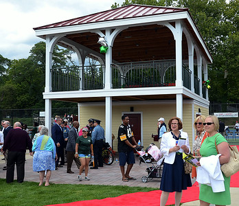 A big crowd was on hand at the dedication of the new tennis pavilion(rear)in Cadwalader Park in Trenton on Friday afternoon August 15th. gregg slaboda photo