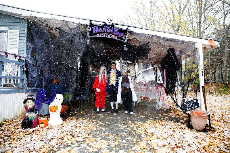 Holly Pelczynski - Bennington Banner Jeremy, Jason, and Tara Burdge of 2493 Chapel Road in Bennington welcome all trick or treaters to come visit their haunted house. The home was once owned by another tennet who was once not so nice to trick or treaters and only gave tricks but their hoping to bring the fun back to Halloween by offering a free haunted house, Halloween photo booth and several treats for Trick or Treaters.