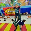 KRISTOPHER RADDER — BRATTLEBORO REFORMER<br /> Students at Jamaica Village School practice their circus skills as Troy Wunderle's Big Top Adventure swings into the school for a week on Nov. 12, 2019.