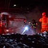 KRISTOPHER RADDER - BRATTLEBORO REFORMER<br /> Crews poured water onto a propane truck that caught fire when the rear tires overheated while being towed on Route 9 in Chesterfield, N.H. on Friday, Dec. 29, 2017. No injuries were reported, but the highway was closed to allow crews to clean up the scene. The roadbed became as slick as a  ice rink as the water quickly froze in the subzero temperatures.