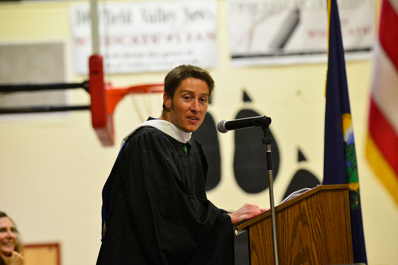 KRISTOPHER RADDER - BRATTLEBORO REFORMER<br /> Scott Salway, a teacher at Twin Valley Middle High School, gives his speech to the graduating class.
