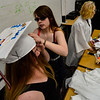 KRISTOPHER RADDER - BRATTLEBORO REFORMER<br /> Graduating seniors Katelynn Loos and Emma Durphey, of Twin Valley Middle High School, help put on each other's caps before the start of the commencement ceremony on Saturday, June 9, 2018.
