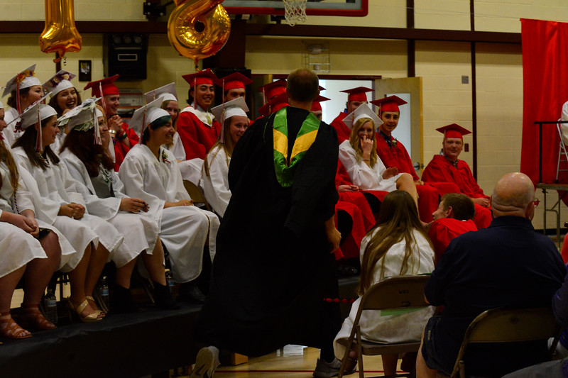 KRISTOPHER RADDER - BRATTLEBORO REFORMER<br /> The class of 2018 seniors of Twin Valley Middle High School celebrate during the commencement ceremony on Saturday, June 9, 2018.