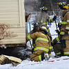 KRISTOPHER RADDER - BRATTLEBORO REFORMER<br /> Five fire companies responded to a two-alarm fire on Robbins Street in Hinsdale, N.H., on Friday, Dec. 29, 2017. No injuries to humans were reported but a number of cats died in the blaze.