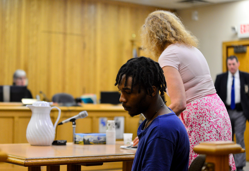 """KRISTOPHER RADDER - BRATTLEBORO REFORMER<br /> Chyquan """"Cash"""" Cupe turns away as the court upholds the state's request for a 25,000 bond during an arraignment at Windham County Superior Court, Criminal Division, on Friday, May 25, 2018."""