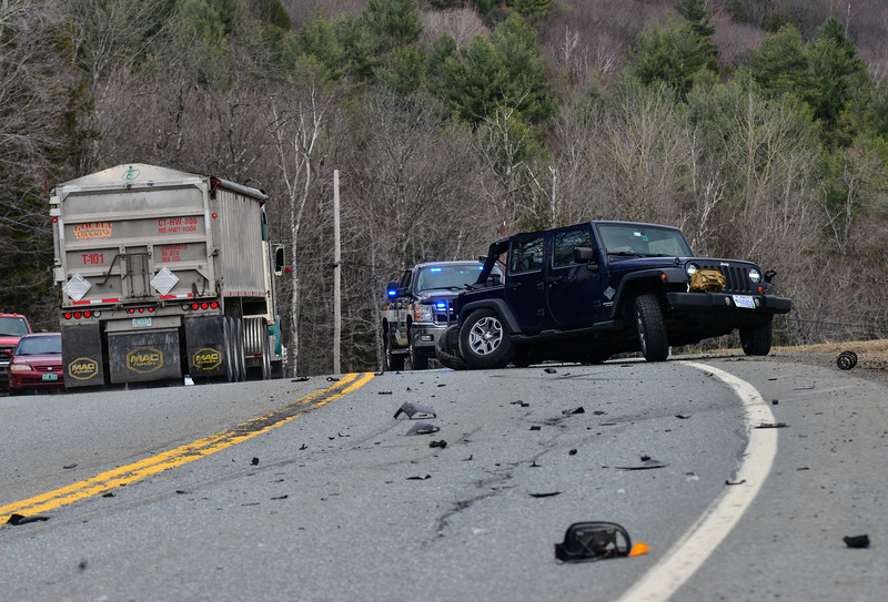 KRISTOPHER RADDER - BRATTLEBORO REFORMER<br /> An SUV traveling west on Vt. Route 9 towards Wilmington left his lane and hit a Jeep causing both vehicles to spin out. Three people were transported for unknown injuries. Route 9 was closed down to a single lane to allow crews to clean up the eastbound lane.