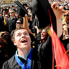 "Alex Schultz, a graduate of the School of Journalism, throws his cap in the air  at the end of the ceremony.<br /> A total of 5,897 degrees were conferred during the University of Colorado Spring 2011 Commencement on Friday.<br /> For more photos and a video of graduation, go to  <a href=""http://www.dailycamera.com"">http://www.dailycamera.com</a>.<br /> Cliff Grassmick/ May 6, 2011"