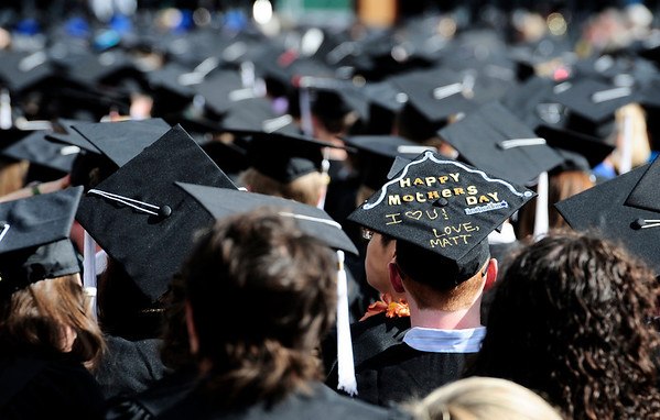 A Happy Mother's Day message is written on graduate's cap during the commencement ceremony held in Folsom Field at the University of Colorado in Boulder, Colorado May 6, 2011.  CAMERA/Mark Leffingwell
