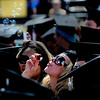 Morgan Griffin, graduate in International Affairs, blows bubbles during the commencement ceremony held in Folsom Field at the University of Colorado in Boulder, Colorado May 6, 2011.  CAMERA/Mark Leffingwell