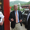 U.S. Congressman Richard Neal speaks with North Adams Fire Director Stephen Meranti, left, and North Adams Mayor Richard Alcombright. Friday, June 16, 2017. Scott Stafford  -- The Berkshire Eagle