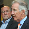 U.S. Congressman Richard Neal speaks with the press while North Adams Mayor Richard Alcombright looks on at the North Adams Firehouse. Friday, June 16, 2017. Scott Stafford  -- The Berkshire Eagle