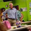 KRISTOPHER RADDER — BRATTLEBORO REFORMER<br /> U.S. Rep. Peter Welch, D-Vt., talks to children eating lunch at the Boys and Girls Club of Brattleboro onThursday, July 5, 2018.