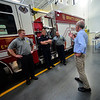 KRISTOPHER RADDER — BRATTLEBORO REFORMER<br /> U.S. Rep. Peter Welch, D-Vt., talks with Capt. Charles Kier III, and Firefighters Chris Fellows and Tim Sikorski during a visit on Thursday, July 5, 2018.