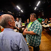 KRISTOPHER RADDER — BRATTLEBORO REFORMER<br /> Ricky Davidson, executive director of the Boys and Girls Club of Brattleboro, talks to U.S. Rep. Peter Welch, D-Vt., on Thursday about the meals that are provided at the club.