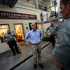 KRISTOPHER RADDER — BRATTLEBORO REFORMER<br /> U.S. Rep. Peter Welch, D-Vt., listened to Brattleboro Firefighter Mike Heiden talk about the recent improvements to the central station during a visit on Thursday, July 5, 2018.